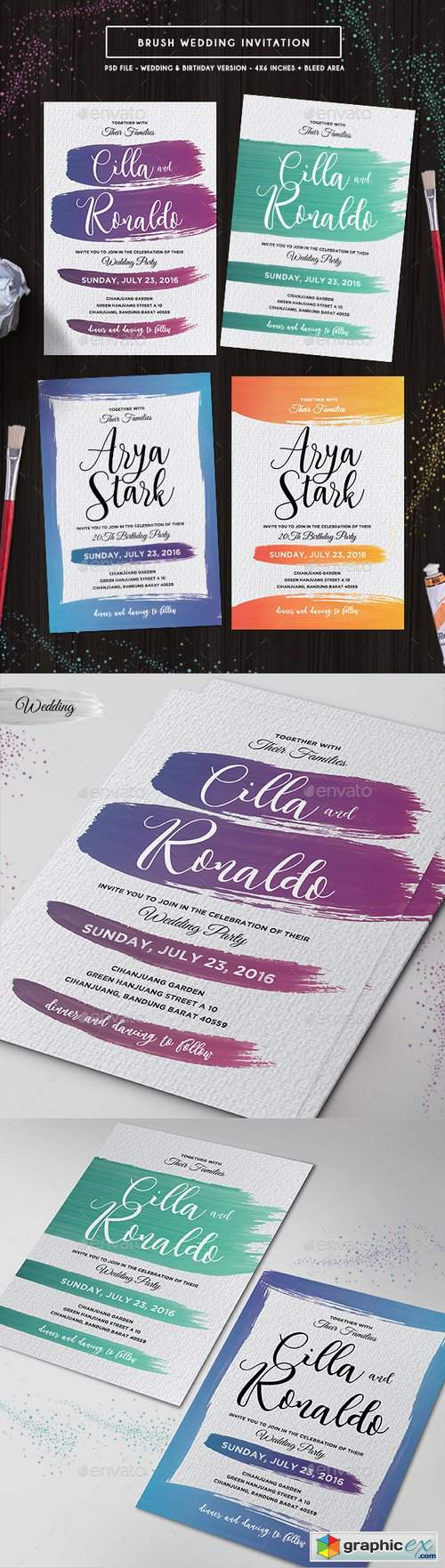 Brush Wedding Invitation