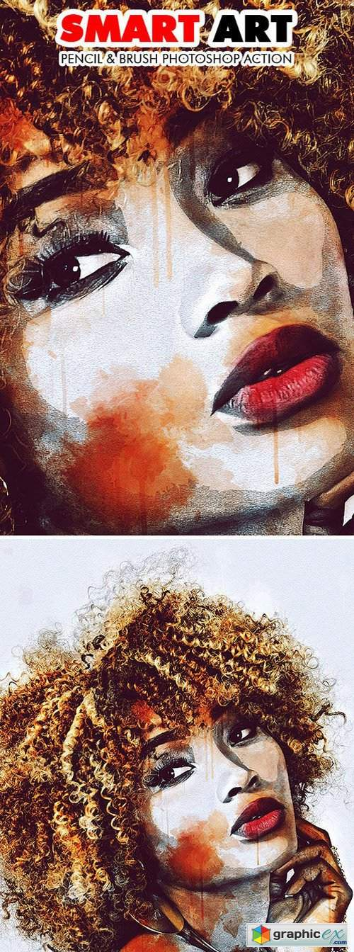 Smart Art - Pencil & Brush Photoshop Action » Free Download