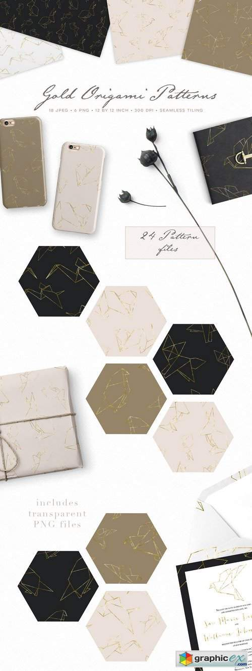 Gold Origami Geometric Patterns