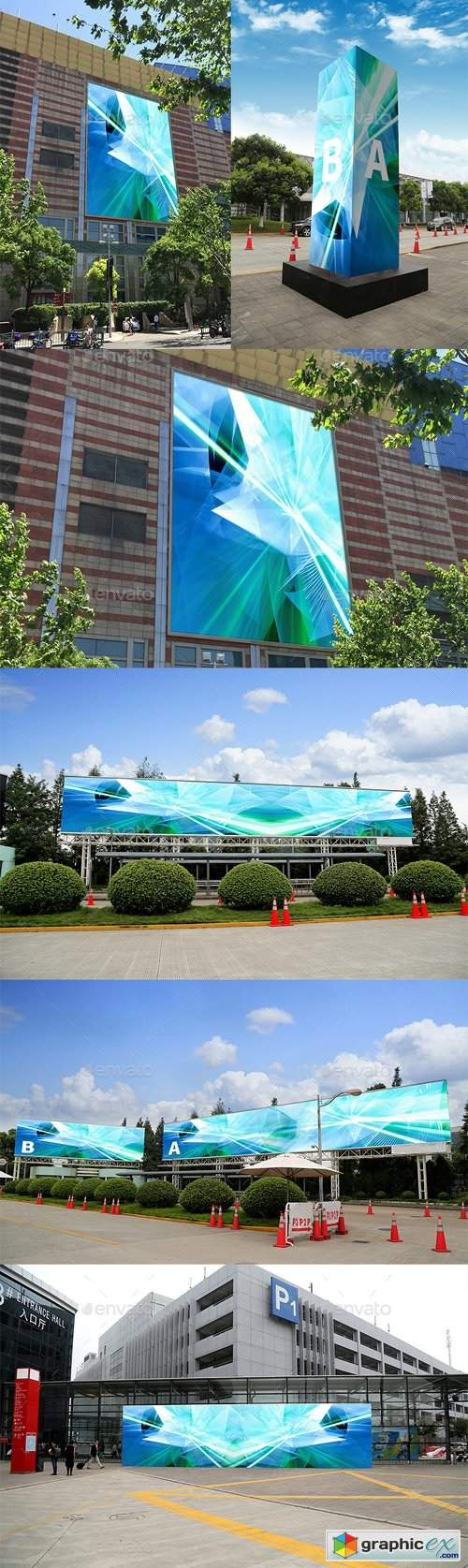 5 Outdoor Advertising Displays Mock-Ups