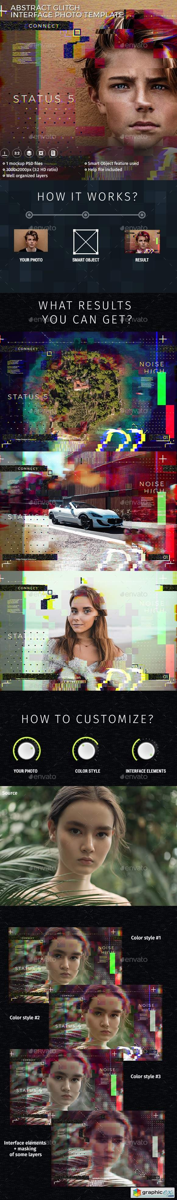 Abstract Glitch Photo Interface Template