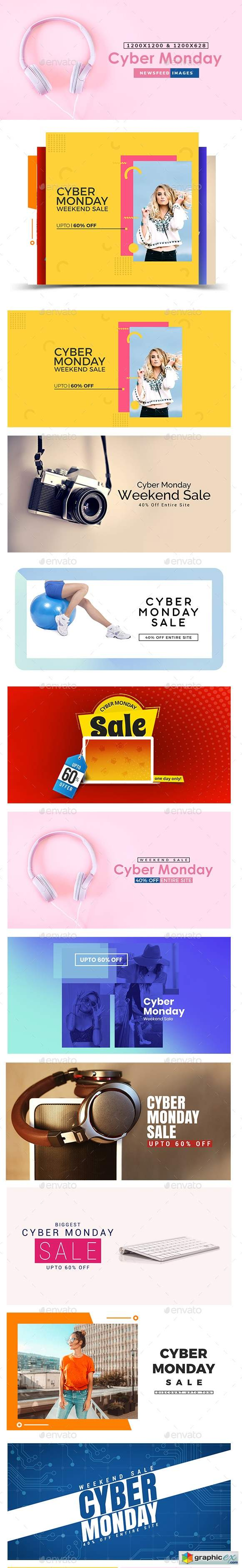 Cyber Monday Sale Facebook and Instagram Newsfeed Banners - 10 Designs