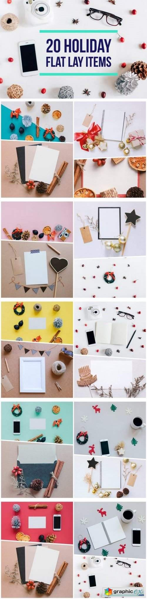 20 Holiday flat lay items collection