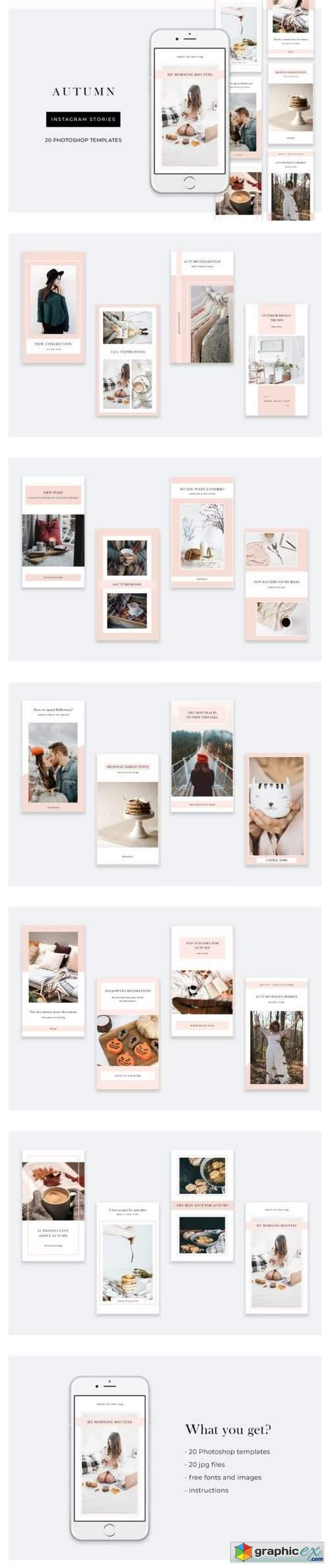 Autumn Instagram Stories – 20 Photoshop templates