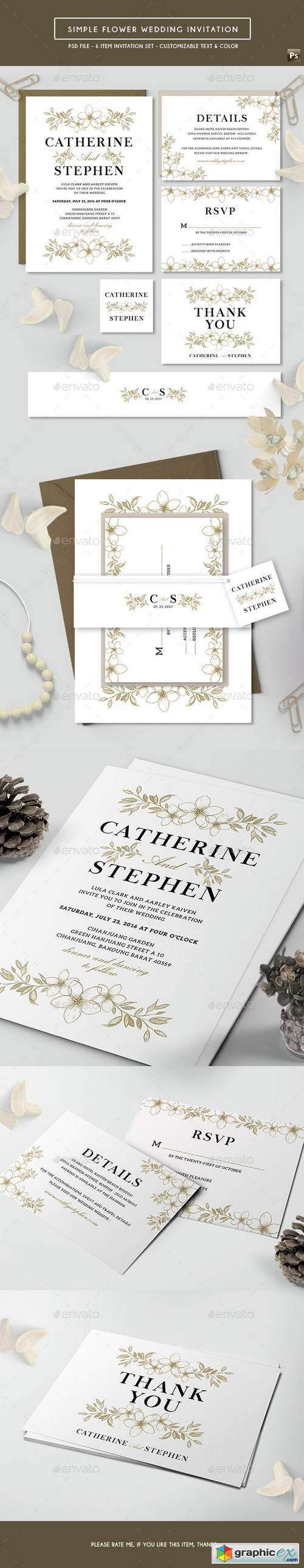 Simple Flower Wedding Invitation