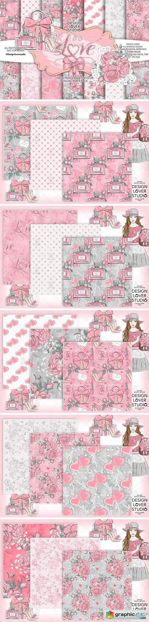Loving Heart digital paper pack