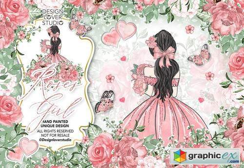 Roses Girl digital paper pack