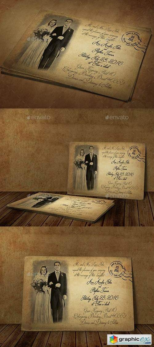 Vintage Wedding Invitation 18829887
