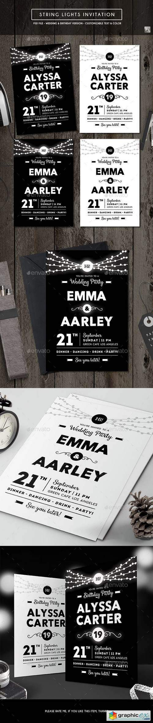 String Lights Invitation (Wedding & Birthday)