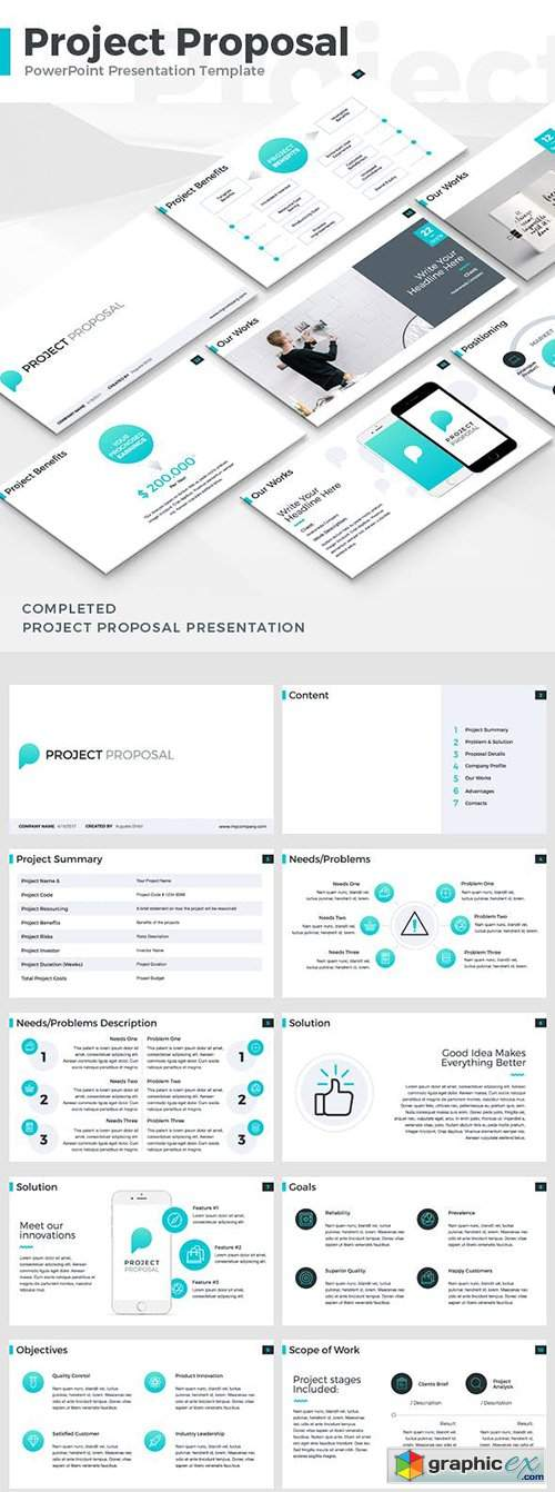 Project Proposal Powerpoint Template Free Download Vector Stock