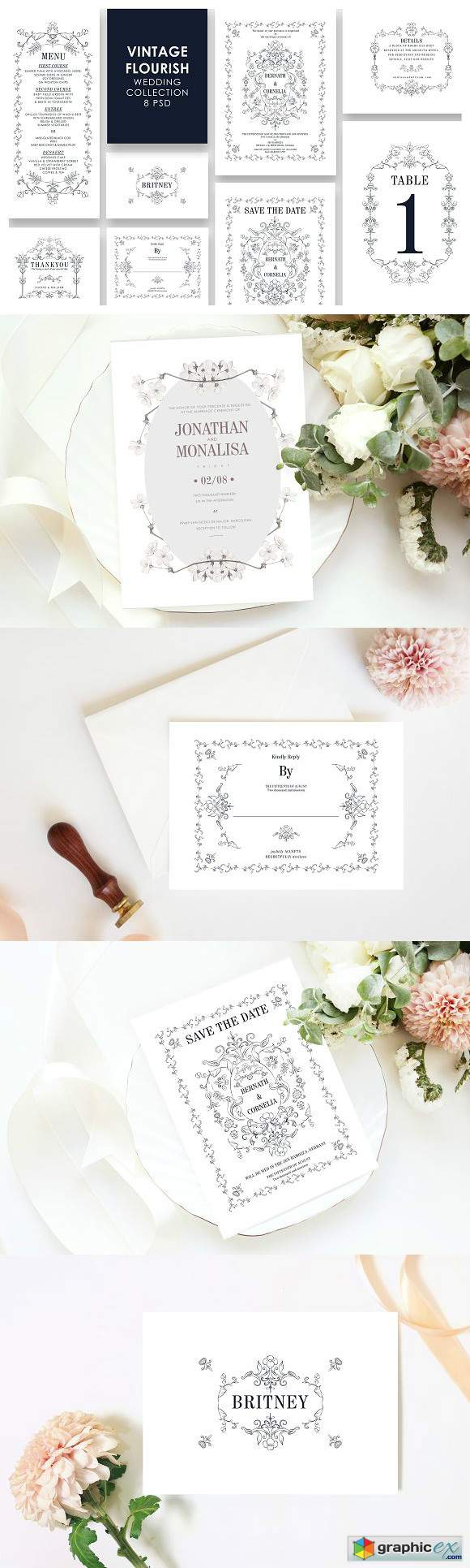 Vintage Wedding Invitation Set