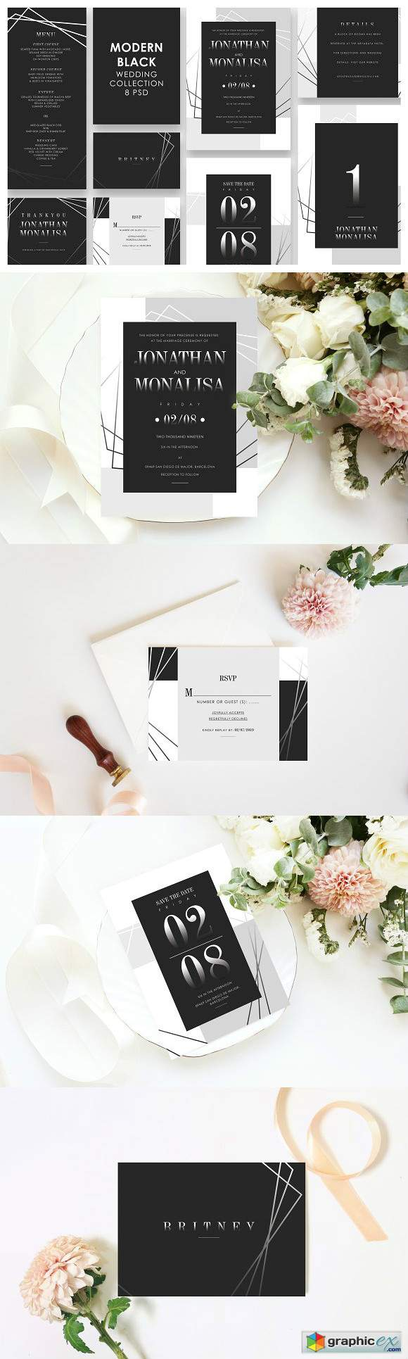 Modern Black Wedding Invitation Set