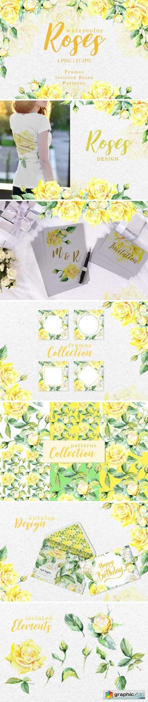 Roses Bright yellow Watercolor png