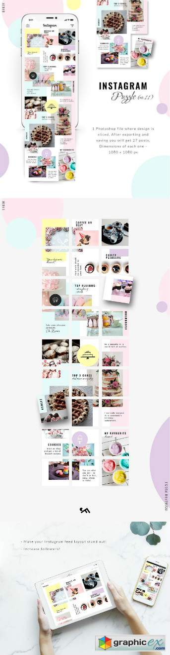 Instagram PUZZLE template - Baker » Free Download Vector
