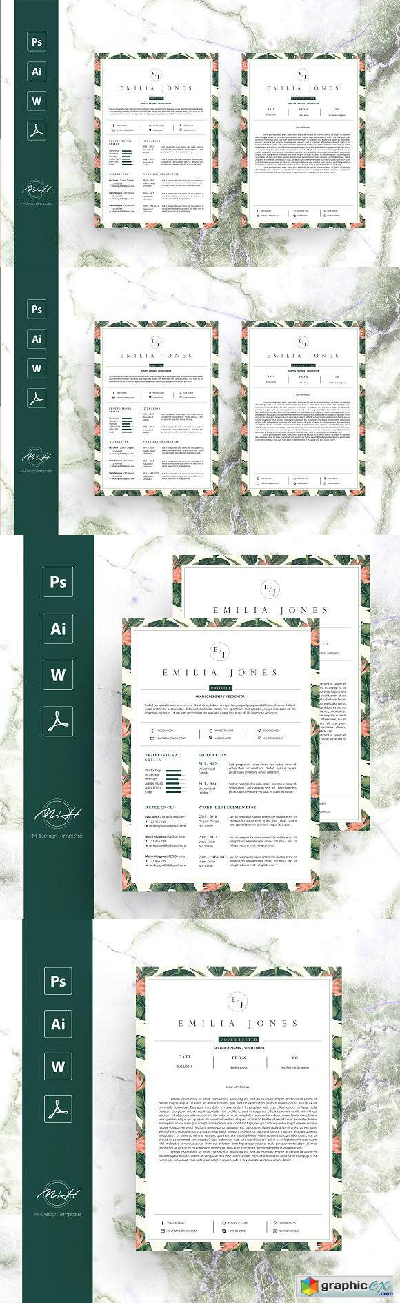 Leaf Floral Resume Template