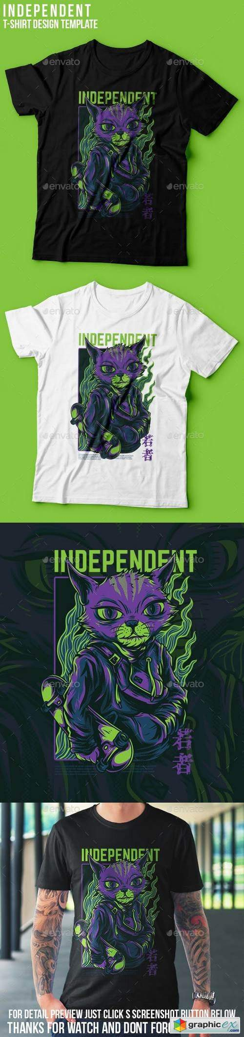 Independent Cat T-Shirt Design
