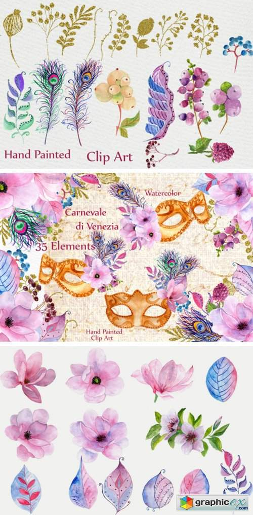 Pink Gold Wedding Flowers Clipart
