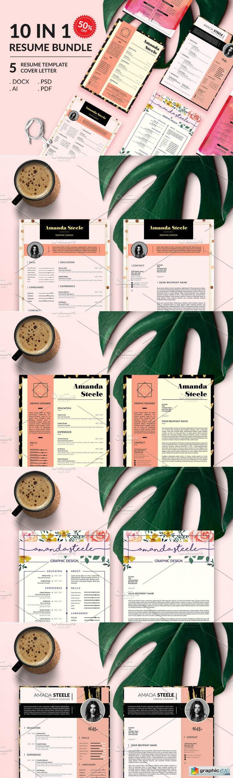 Gold Rose Resume BUNDLE Template N