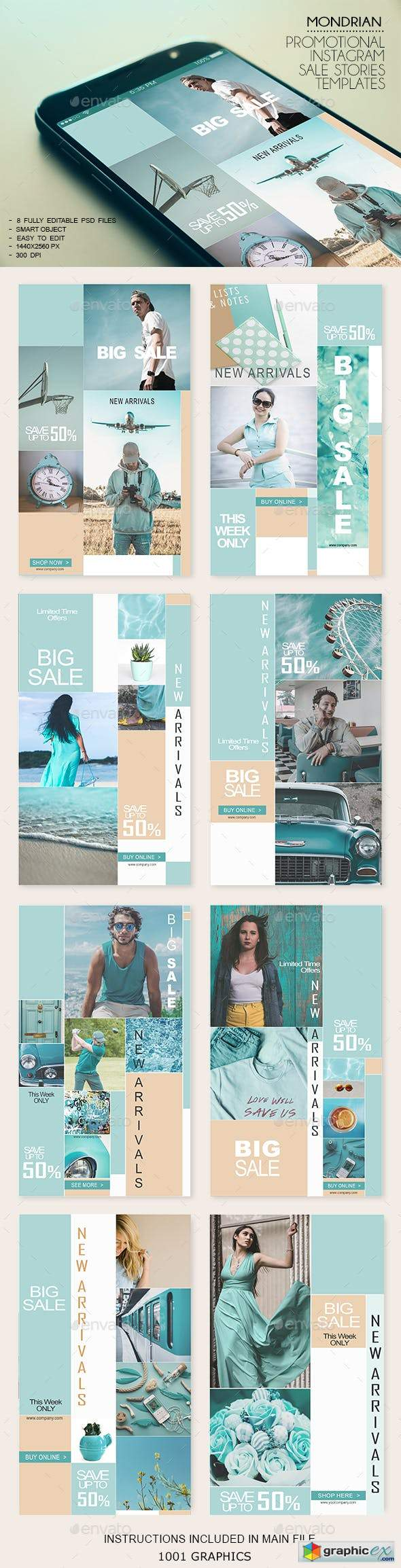 8 Mondrian Insta-Stories Sale PSD Templates