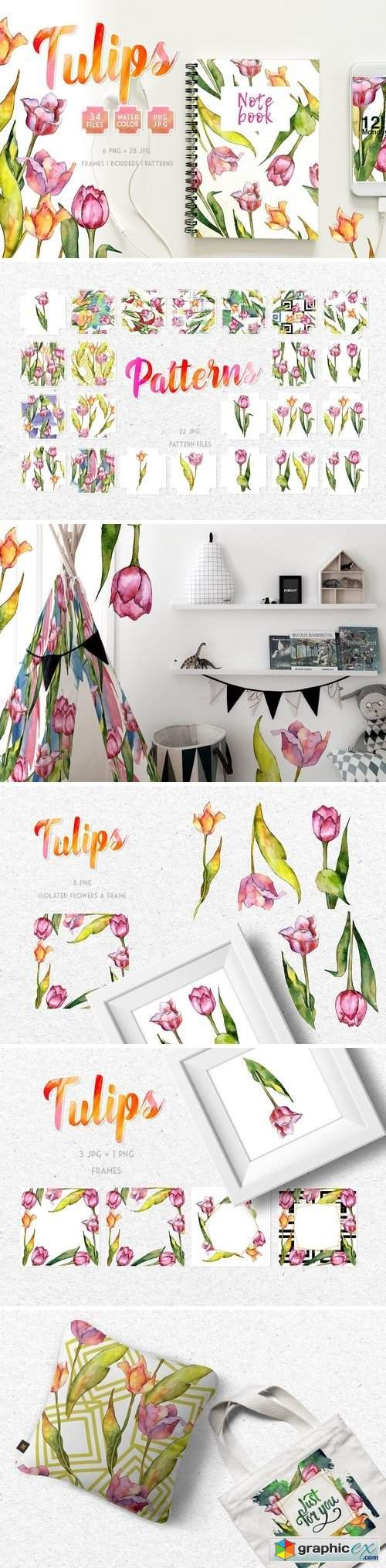 Tulips for Love Watercolor png