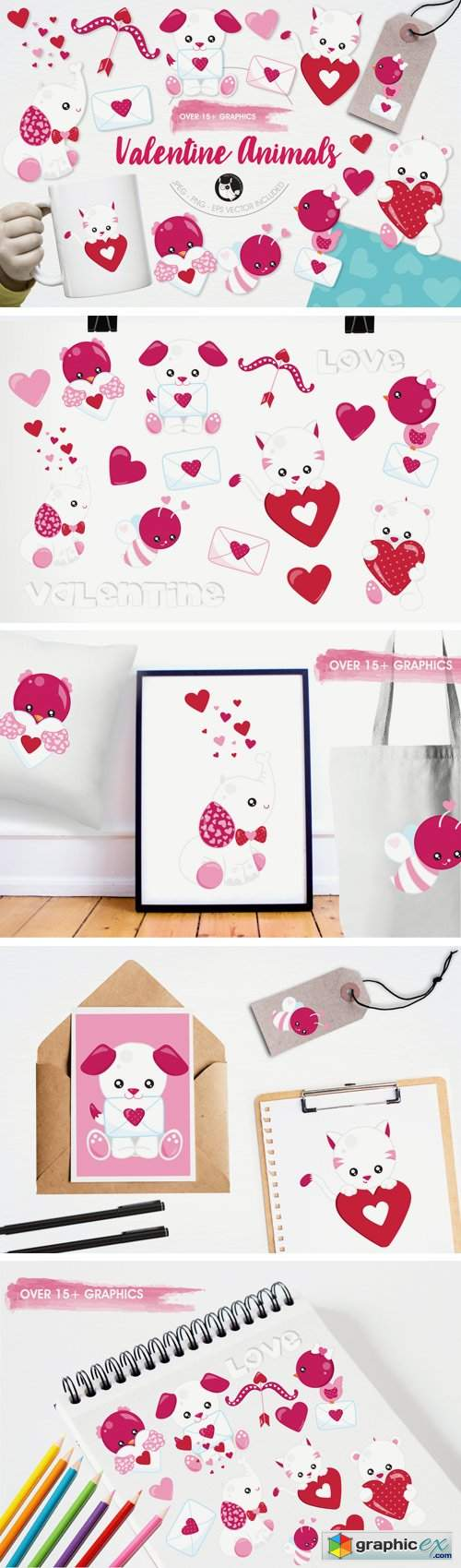 Valentine Animals Graphics and Illustrations