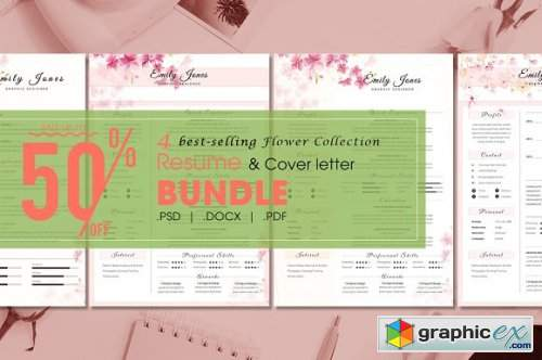 Resume CV Bundle Flower Collection