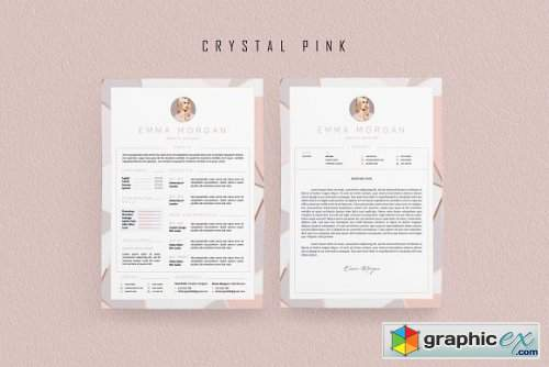 Pink Floral Resume BUNDLE Template M
