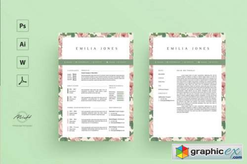 Floral Resume Template / Coverletter Template