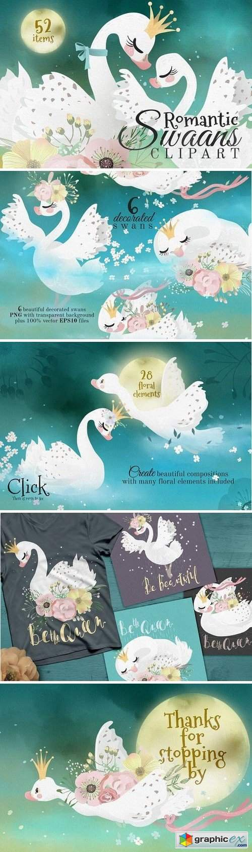 Romantic Swans Clipart