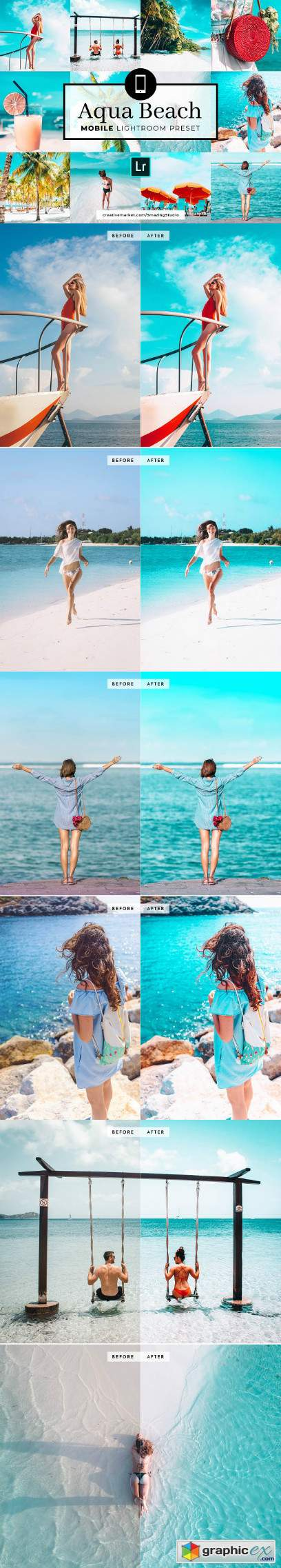 Mobile Lightroom Preset Aqua Beach » Free Download Vector Stock