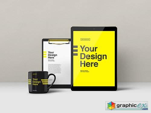 Tablet, Clipboard and Mug Mockup
