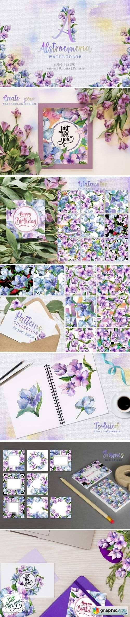 Alstroemeria Violet Watercolor png