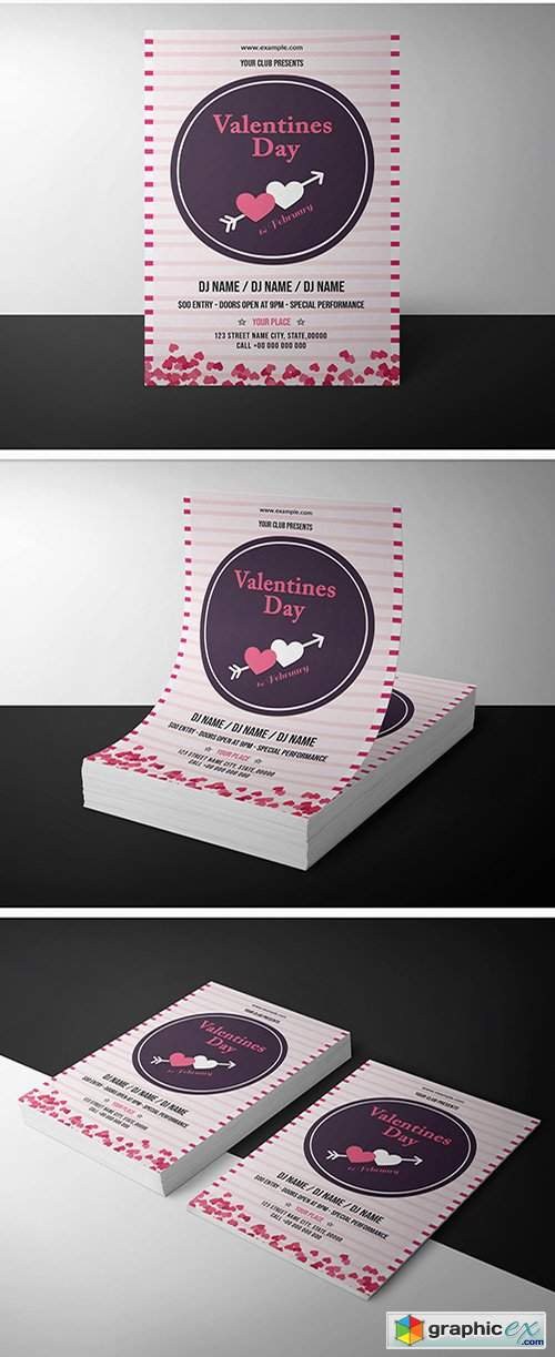 Valentine's Day Invitation Layout with Pink Stripes