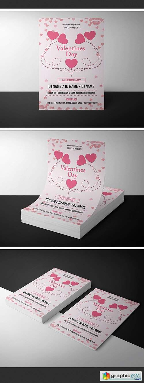 Valentine's Day Invitation Layout with Hearts