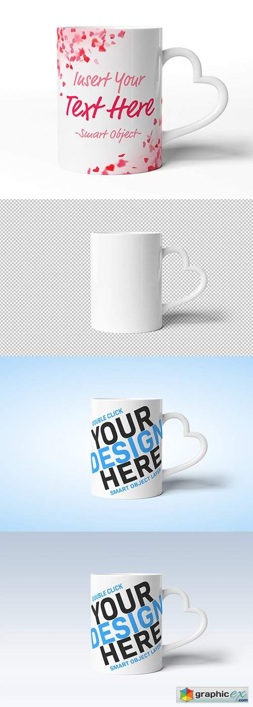 Mug with Heart Shaped Handle Mockup