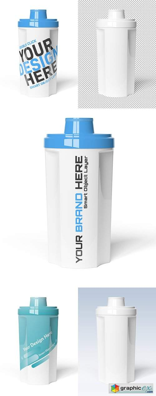 Protein Shaker on White Background Mockup