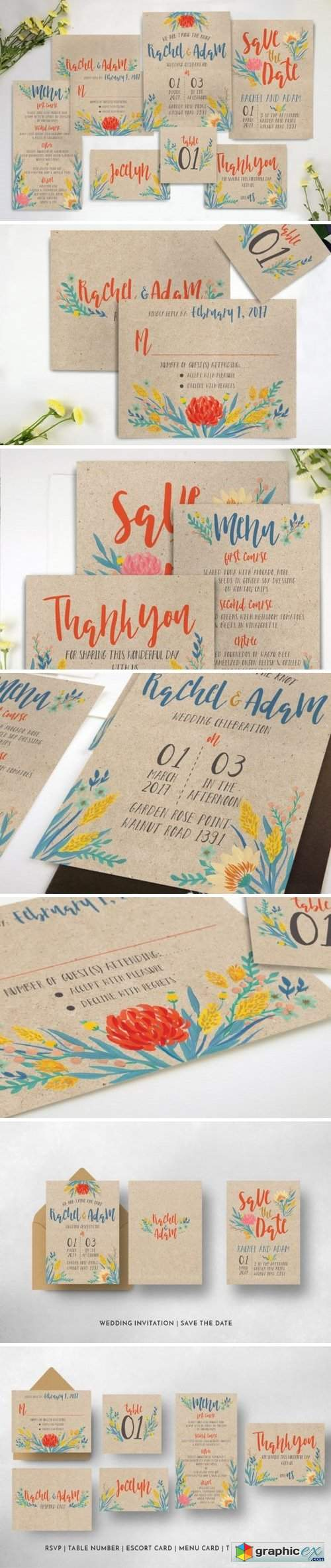 Summer Floral Wedding Invitation Suite