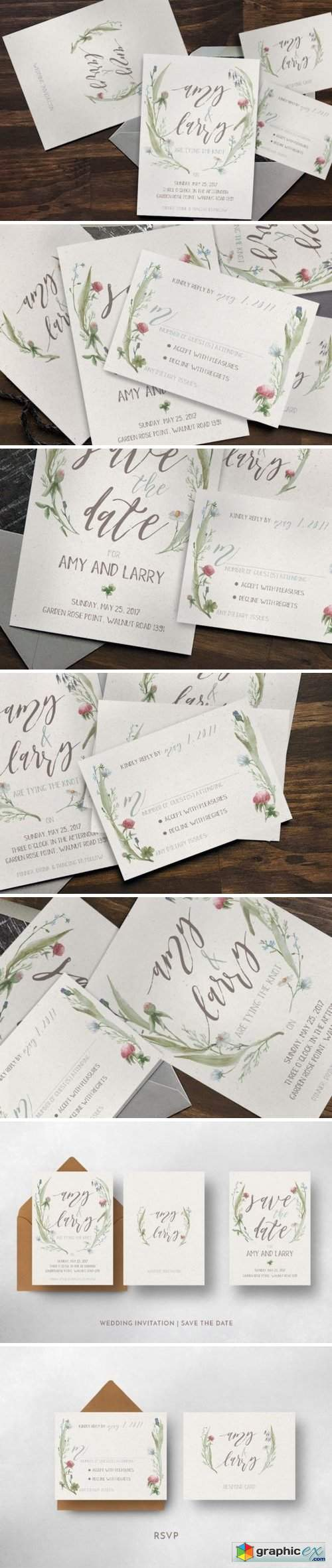 Watercolor Flower Wedding Invitation Suite