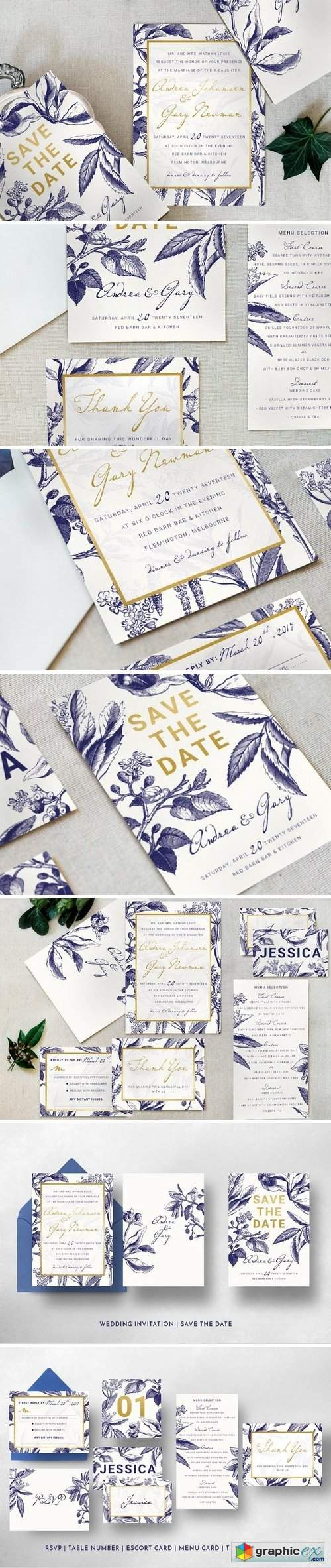 Gold & Navy Wedding Invitation Suite