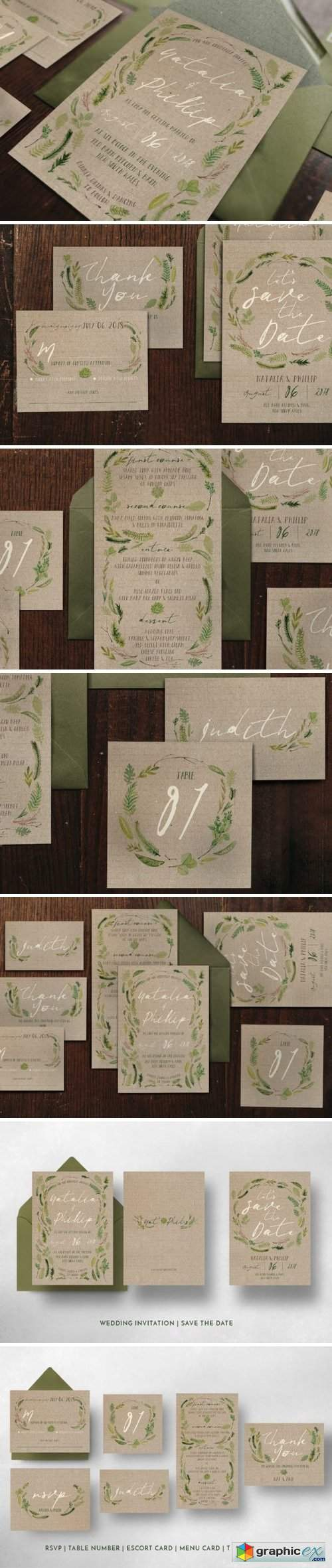 Watercolor Foliage Wedding Suite