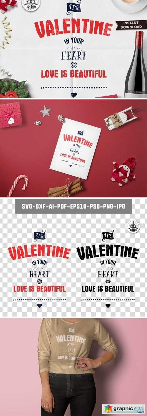 Valentines Day Lettering / Typography Overlay SVG