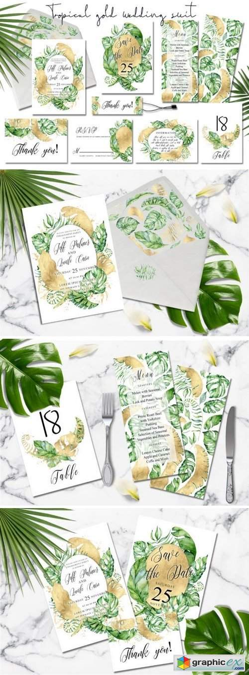 Gold Monstera - tropical alphabet