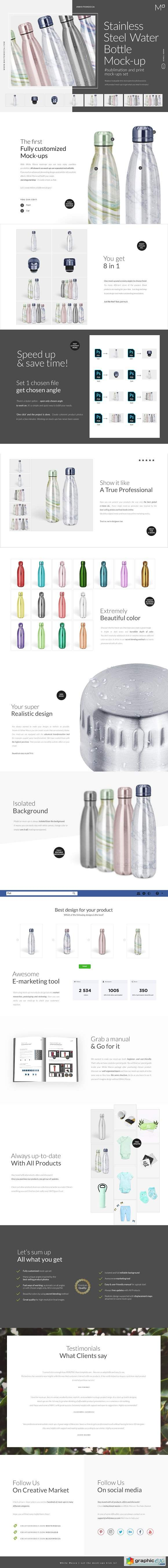 Stainless Steel Water Bottle Mock-up