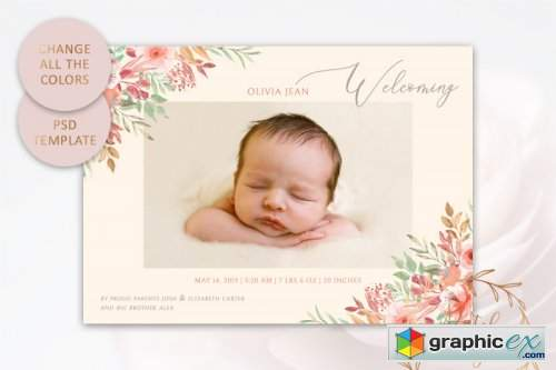 Birth Announcement Card Template #1