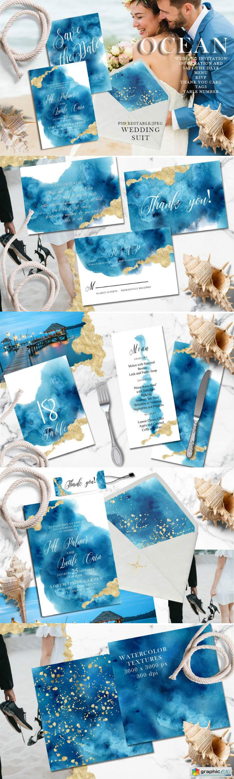Ocean wedding invitations suit