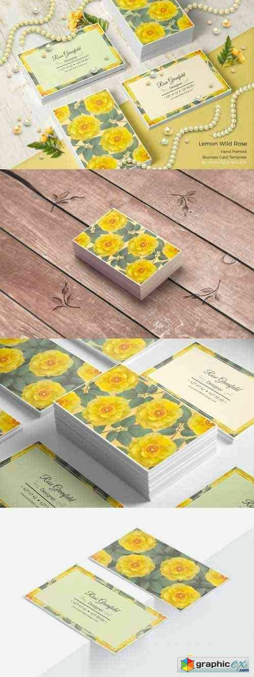 Lemon Wild Rose PSD Business Card