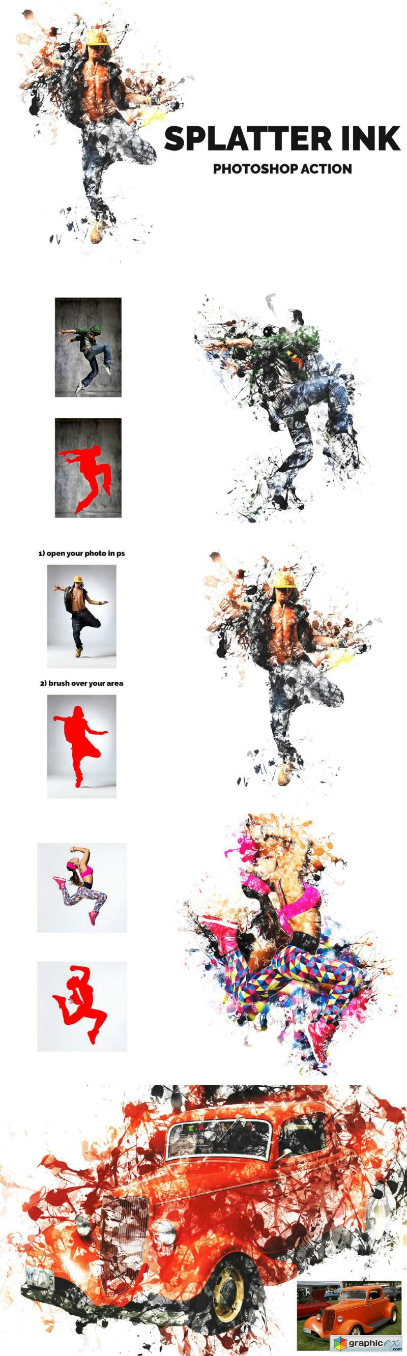 Splatter Ink Photoshop Action 3593546