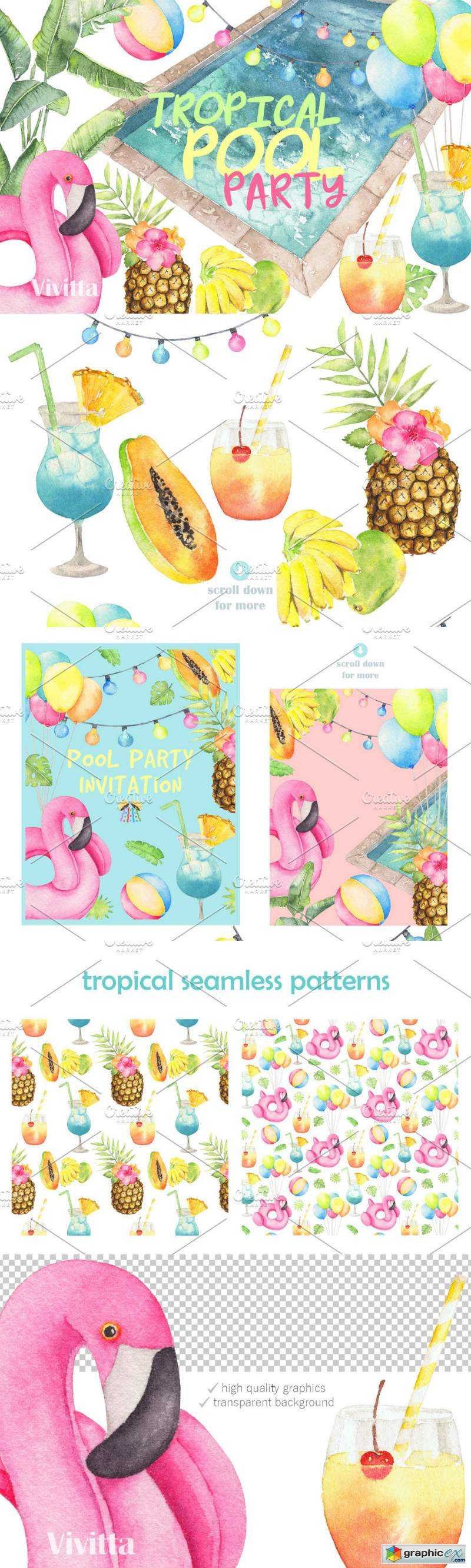Tropical Pool Party Watercolor set