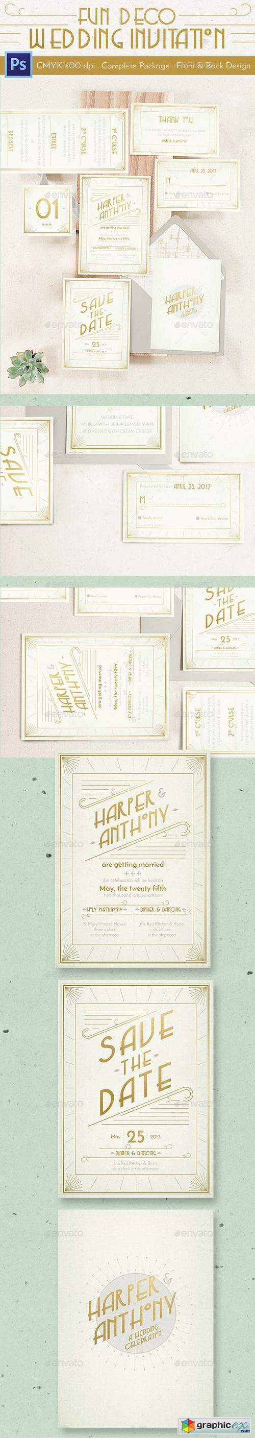 Fun Deco Wedding Invitation