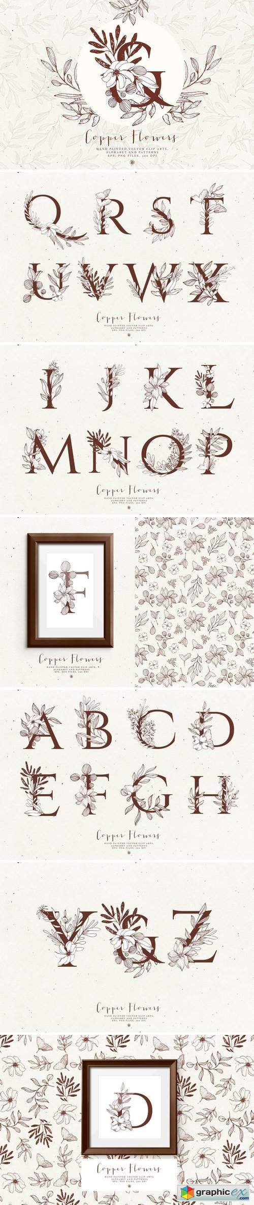 Copper Flowers and Alphabet